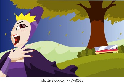 An image of the evil queen laughing and going away while Snow White's body lies entombed in a glass coffin under a tree