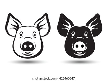 Image of face pig silhouette design on white background,vector illustration
