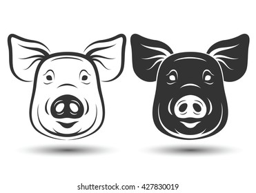 image of face pig silhouette and drawing design on white background,vector illustration