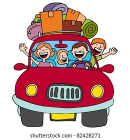 An image of a family driving in their car with luggage on top.