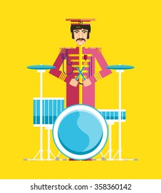 The image of the famous drummer. Flat design. Illustration. Icon. Vector.