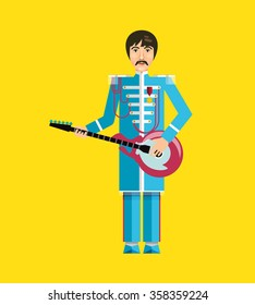 The image of the famous rock musician, guitarist, singer, performer of popular songs. Flat design. Illustration. Icon. Vector.