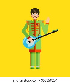 The image of the famous rock musician, guitarist, singer, performer of popular songs. Flat design. Illustration. Icon.Vector.