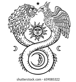 Image of fantastic animal ouroboros with a body of a snake and two heads of a lion and a bird. Symbols of the moon and sun. Print, poster, t-shirt. Vector illustration isolated on a white background.