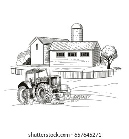 Image of the farm, houses and a tractor. Hand drawn sketch. Vector illustration.