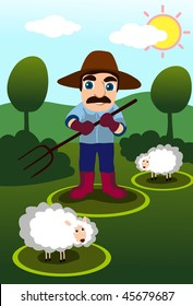 An image of a farmer holding a pitchfork while two sheep graze around him
