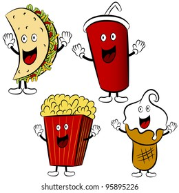 An image of a fast food taco, soda, popcorn and ice cream cartoon mascots.