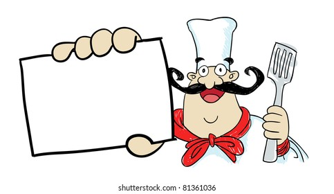 Image of fat funny chef character holding spatula and showing blank card