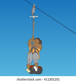 An image of a female African zip line rider.