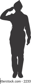 Image of a female cadet (youth military), this vector silhouette features a saluting soldier.
