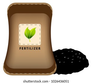 An image of a Fertilizer Bag and Pile of Soil isolated on white.
