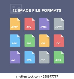 Image file formats. Photo and graphic file type icons
