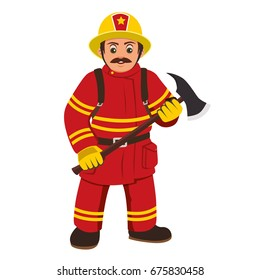 The image of a firefighter holding an axe.