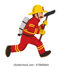 The image of a firefighter running with a hatchet