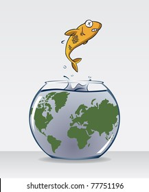 Image of fish jump out of fish bowl with dirty water and world map on it. The fish bowl is an analogy of dirty earth