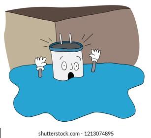 An image of a Flooded Basement Broken Water Heater.