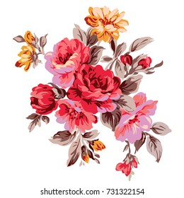Image of flowers in colors, vector