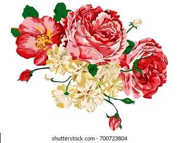 Image of flowers executed in red and orange colors. Vector