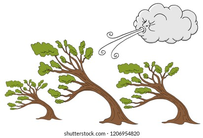 An image of a Fluffy Trees and Cloud Blowing Wind cartoon.