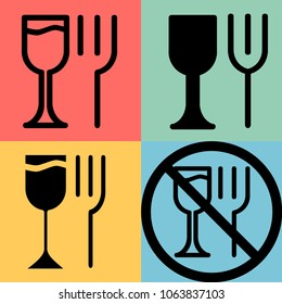 An image of a fork and wineglass in the form of an icon indicating the place of eating.