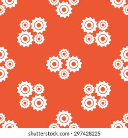 Image of four cogs, repeated on orange background