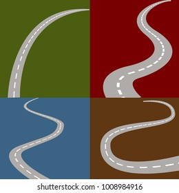 An image of four winding and curving road icon set.