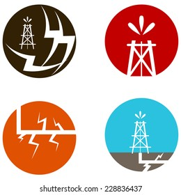 An image of fracking oil icons.