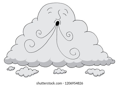 An image of a Giant Cloud Cartoon Blowing Wind.