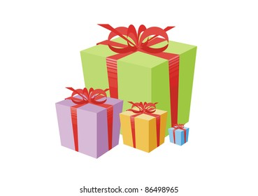 The image of gift boxes tied up by a bow.