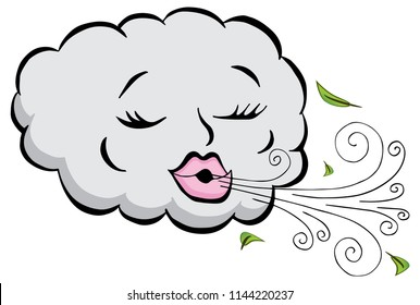 An image of a Girl Cloud Blowing Wind Cartoon.
