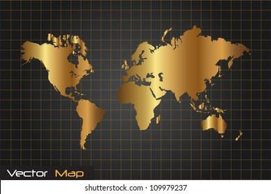 Image of a gold and black world map vector illustration.