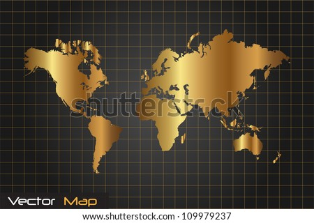 Image Gold Black World Map Vector Stock Vector Royalty Free