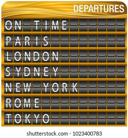 An image of a Gold Departures Travel Board isolated on white.
