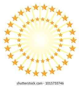 An image of a Gold Star Circle Pattern Energy Burst Isolated on White Background.
