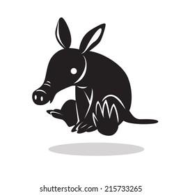 image graphic style of aardvark  isolated on white background