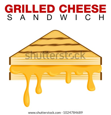 An image of a Grilled Cheese Sandwich Dripping Melting Cheese Isolated on White background.