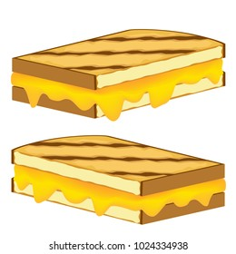 An image of a Grilled Cheese Sandwich vector cartoon Isolated on White background.