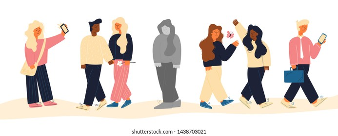 image group people different ages who have their own fun life and lonely gray woman stands alone flat. all people bright and active, and girl black and white, sad, depressed, immersed in despondency