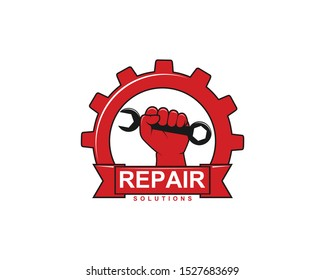 image of hand holding wrench inside gear for repair workshop service vector logo design template