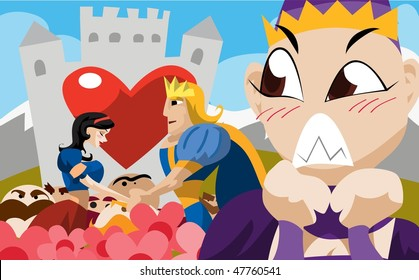 An image of the handsome young prince and Snow White holding hands in a garden in front of the prince's castle while the seven dwarves and the king look on.