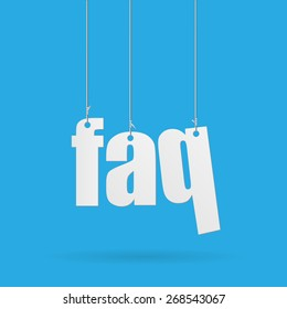 Image of hanging FAQ text on a colorful blue background.
