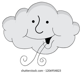 An image of a Happy Cloud Cartoon Blowing Wind.