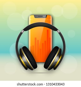 Image headphones on smartphone latest model background. Device for listening music on phone latest model background. Color stereo headphone for listening audio from phone. Banner earphones music party