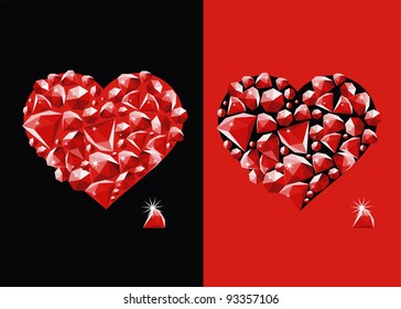 The image of heart inlaid by jewels.