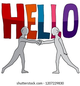 An image of a Hello Word Two People Shaking Hands.