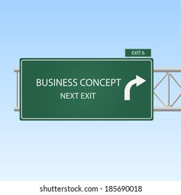 """Image of a highway sign with an exit to """"Business Concept"""" with a blue sky background."""