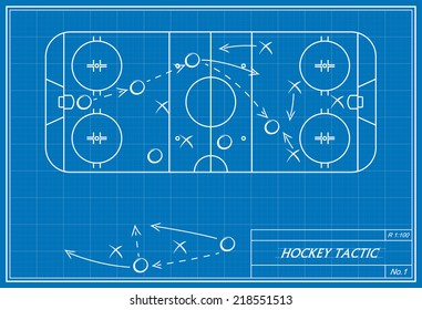 image of hockey tactic on blueprint. Transparency used.
