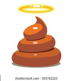Image of holy shit. Brown color. White background. vector illustration