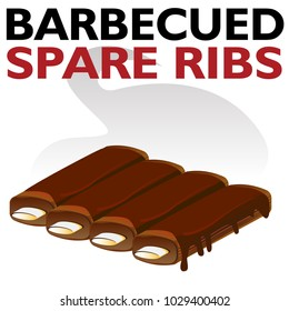 An image of a Hot Barbecued Sauced Spare Ribs isolated on white.