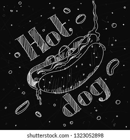 """The image hot dog in the style chalk on the blackboard with lettering """"Hot dog""""."""